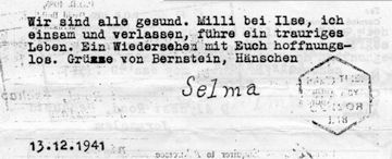 Brief Selma Frankenstein